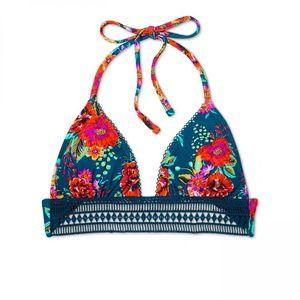 NWT Xhilaration Crochet Trim Bikini Top XS Teal